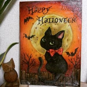 【印刷版・板付き】RYOチョークアート黒板の会~黒猫のハロウィンボード