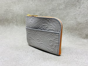 L-type mini wallet (paisley embossed) Color: Gray