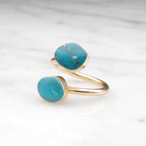 DOUBLE TURQUOISE OPEN RING 01