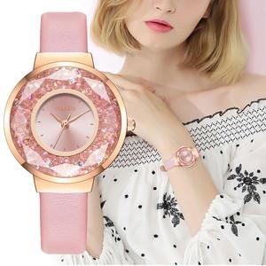 大活躍 カジュアル ラインストーン レザーベルト 合わせやすい レディース 腕時計 <ins-2065>
