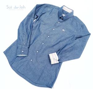 【メンズ・綿】長袖テーラーメイドシャツ(Sサイズ)