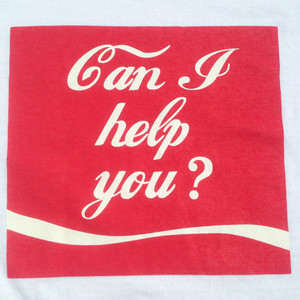 「Can I help you?」<ホワイト>Tシャツ005