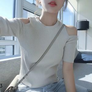 【トップス】夏スリム着痩せ無地五分袖ショルダーニットシャツ
