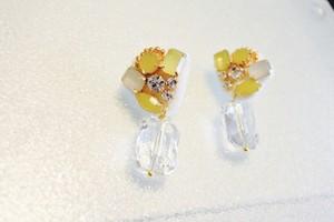 刺繍 イヤリング  レモンシャーベット