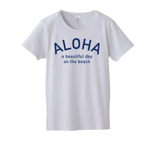 ★Ladies★ ALOHA Tee - White/Blue