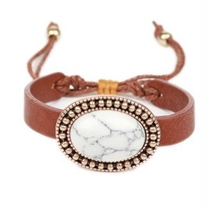 Round Semi Stone W/Leather Bracelet (TB0006)