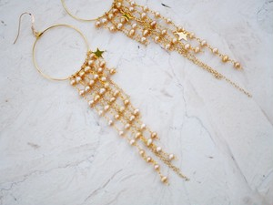 star swing pearl earrings/pierce