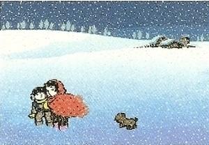 関口コウ シルクスクリーン 四季の詩シリーズ「絹の雪」額付