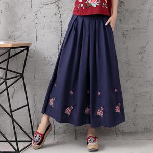 フレアスカート マキシ丈 ロング 刺繍 おしゃれ シンプル 赤 青 おでかけ i1369