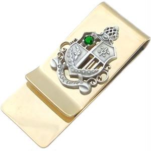 (5月)エメラルドグラス シールド エンブレム スリム ブラスマネークリップ 誕生石*BM-1031