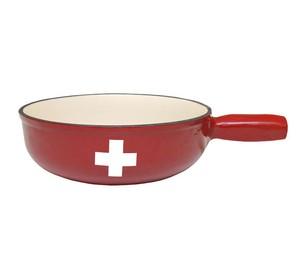 フォンデュ鍋(スイス国旗プリント入り)