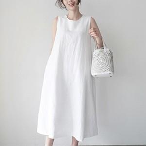 【dress】最愛の一着シンプル切り替えロングカジュアルワンピース