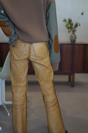 CRISTASEYA - CAMEL SWEATER WITH LEATHER PATCH