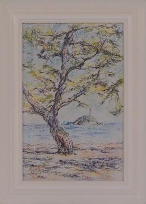 瀬戸内の風景 パステル画 手描き