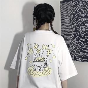 【トップス】新作韓国風レトロプリントポップコーンゆったりins人気Tシャツ