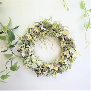 ボタニカル な 小花 の リース グリーンパープル アーティフィシャルフラワー