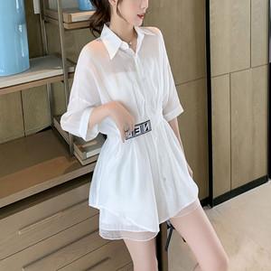 【セット】韓国系半袖シングルブレストPOLOネックシャツ+ショートパンツ47001189