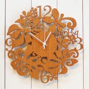 【名入れ・ギフト】ハワイアン 掛け時計 アロハ クロック  (ナチュラル)
