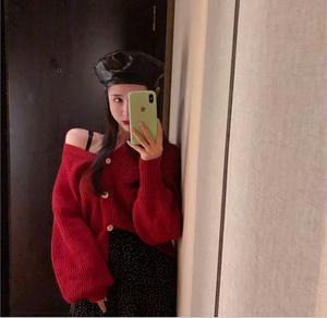 セットコーデ♡デコルテセーター+フレアスカート
