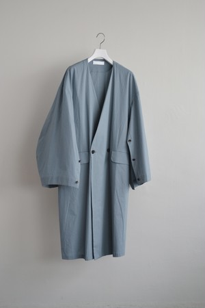 ETHOSENS No collar cotton shirt coat  light blue