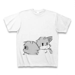 Tシャツ(狸&狐)/ホワイト