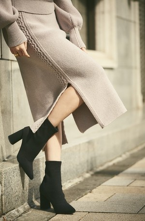 Wool-Blend Cable Knit Skirt