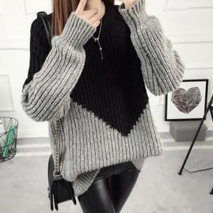 【tops】カジュアル配色ゆるっと感じ厚くてセーター 23015208