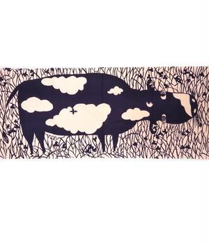 手ぬぐい「雲柄牛図」