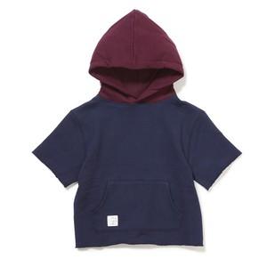 Kids Cut off bi color hoodie - NAVY
