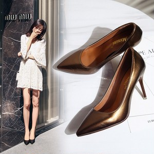 【pumps】  2018 autumn new sexy  pointed-toe fashion middle heel pumps