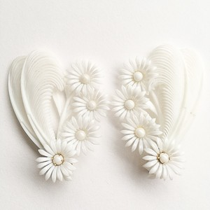 flower & feather earring[e-834]