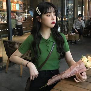 【トップス】POLOネック韓国系無地プルオーバーTシャツ21040254