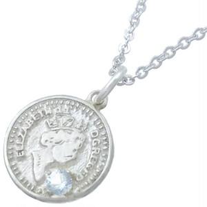 (3月)アクアマリン ホワイト エリザベス コイン シルバー ペンダント ネックレス 誕生石*BP-1063
