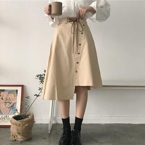 【ボトムス】ファッション夏膝下丈ベルト付きハイウエストAラインスカート