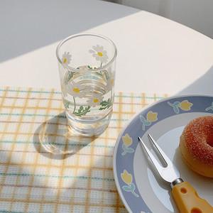 acacia flower glass cup 340ml / 韓国 レトロ フラワー コップ