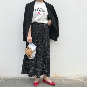 dot straight long skirt
