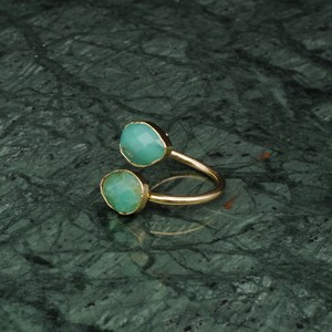 DOUBLE STONE OPEN RING GOLD 029