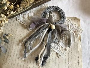 裂き布のシュシュ vintage  (gray & purple)