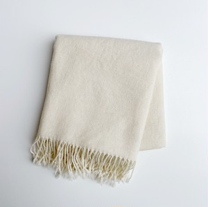 手織りカシミヤラムウールショール(陰影ホワイト White in-ei)