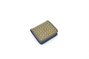 プレミアムカラー印傳 箱型小銭入 黒/黄 亀甲柄