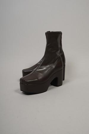 PLATFORM STRETCH SHORT BOOTS  (BROWN) 2108-73-16