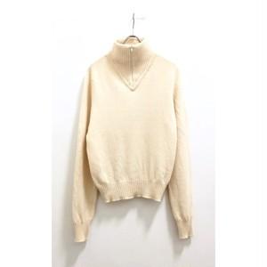 Ivory Cashmere Zip Up Knit Pullover / カシミアジップアッププルオーバースコットランド製