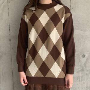(LOOK) check l/s knit tops