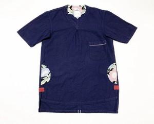 19SS  コットンインディゴメッシュVネックTシャツ / Cotton indigo mesh V neck T-shirts