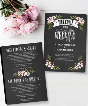 【Chalkboard】ゲストが何名でもこの値段♥︎自分で作る席次表&プログラムブックキット│結婚式