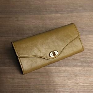 大容量のロングウォレット --- シンプルな革の長財布 [カラシ]
