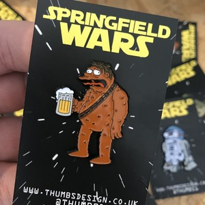 "THUMBS""Barney x Springfield Wars Pin Badge"""