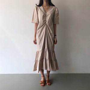 Short sleeve tiered gather dress 半袖 ティアード ギャザー ワンピース