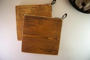 レザー付木製鍋敷き 2枚セット(小サイズ14cm)
