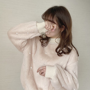 fake fur perl tops [O-8] ※即納品
